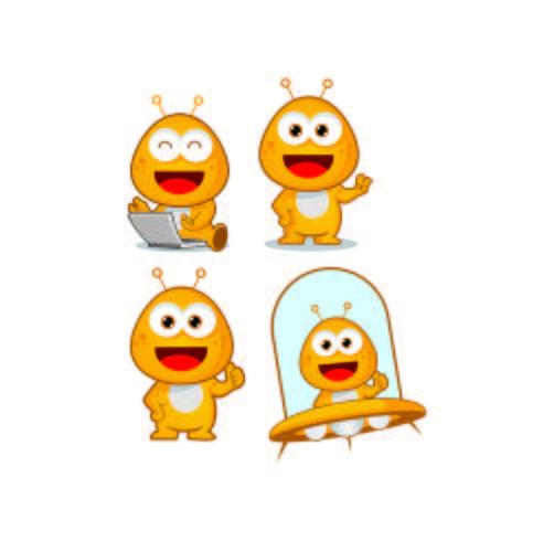 alien cute character cartoon mascot logo designs.