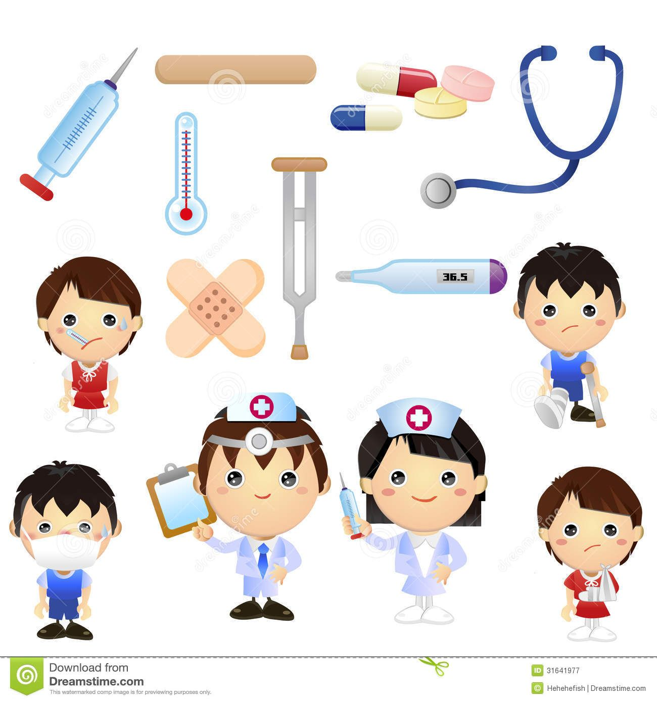 Set Of Cartoon Medical Clipart Good For Teaching Material.