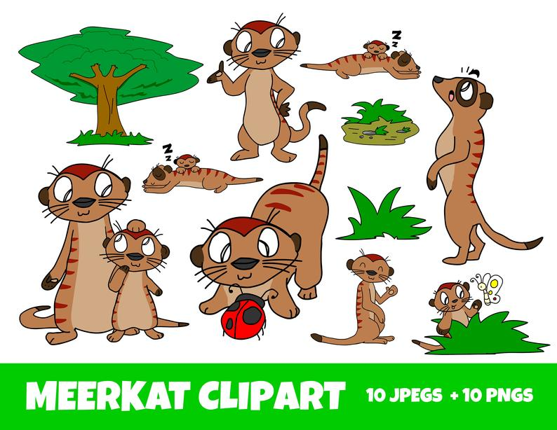 Meerkat Clipart, Cartoon Art Meerkats, Commercial Use OK, JPEG and PNG with  Ladybird and Butterfly, love, gifts.