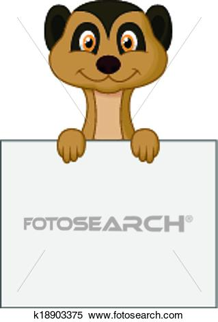 Cute meerkat cartoon holding blank Clipart.
