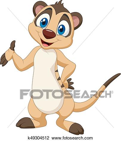 Cartoon meerkat posing Clipart.