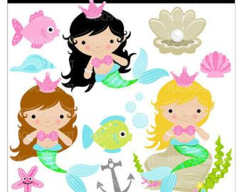 Cartoon Mermaid Clip Art.