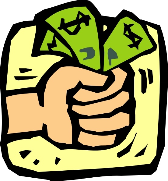 Fist Full Of Money clip art Free vector in Open office drawing svg.