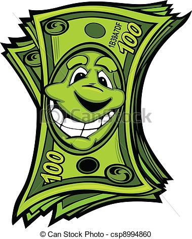 Vector Clipart of Happy Easy Money Cartoon Vector.