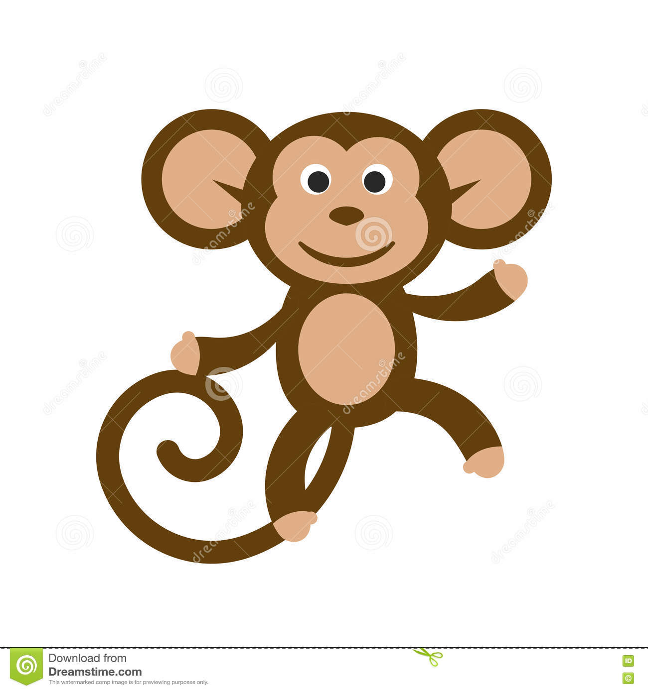 Happy Cartoon Monkey Illustration. Stock Vector.
