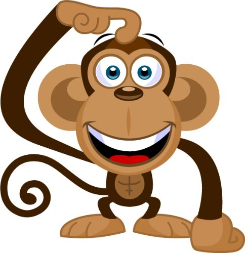 Cartoon monkey clip art cute mascot stock.