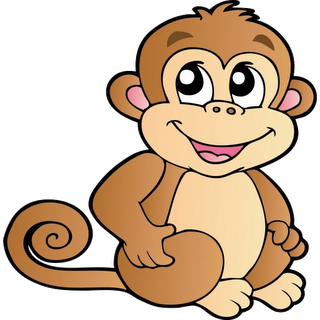 Cute Cartoon Monkeys.
