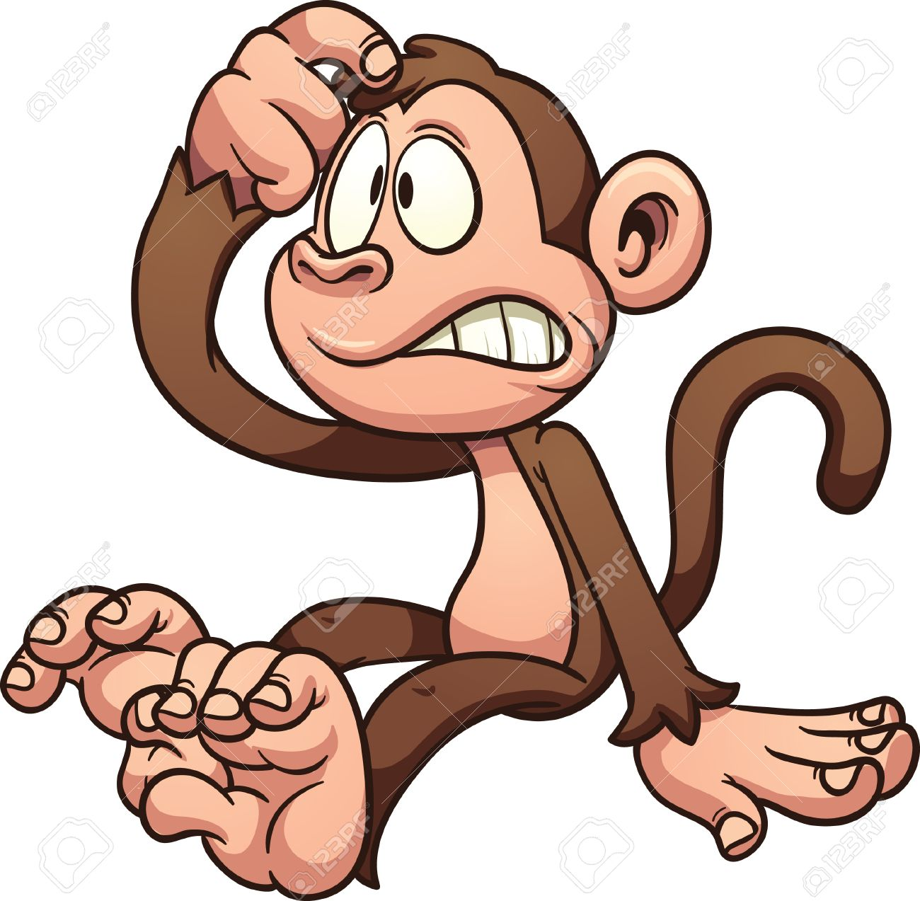 Confused cartoon monkey Vector clip art illustration with simple...