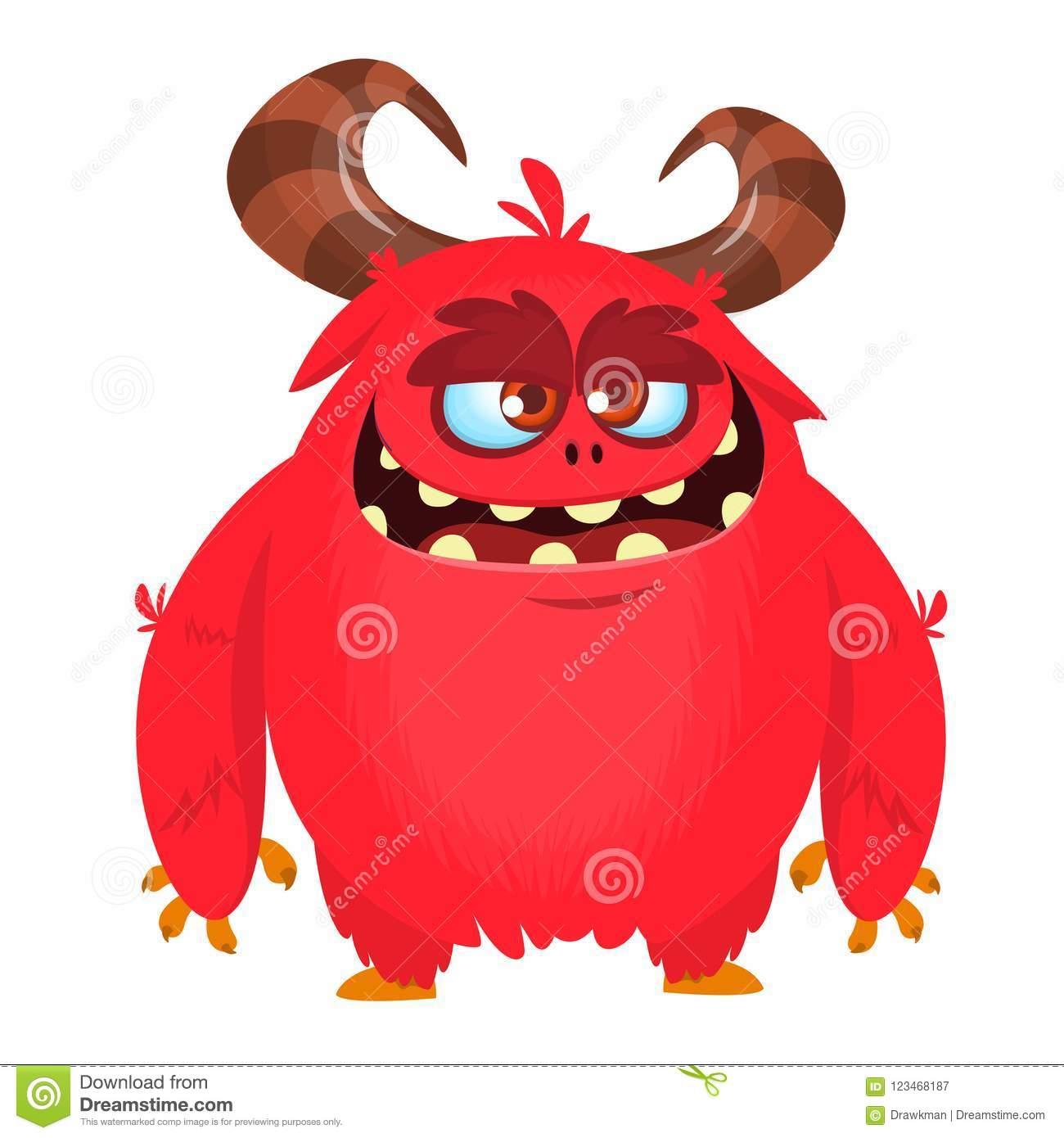 Angry Cartoon Monster. Vector Halloween Monster Character. Big Set.