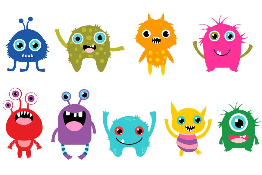 Little Monsters Clipart Set, Cute Cartoon Monster By Pravokrugulnik.