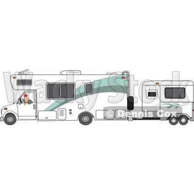 Clipart of a Cartoon White Man Backing up a Motorhome with a Horse.