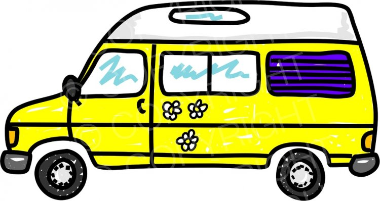 Yellow Cartoon Campervan Motorhome Prawny Transport Clip Art.