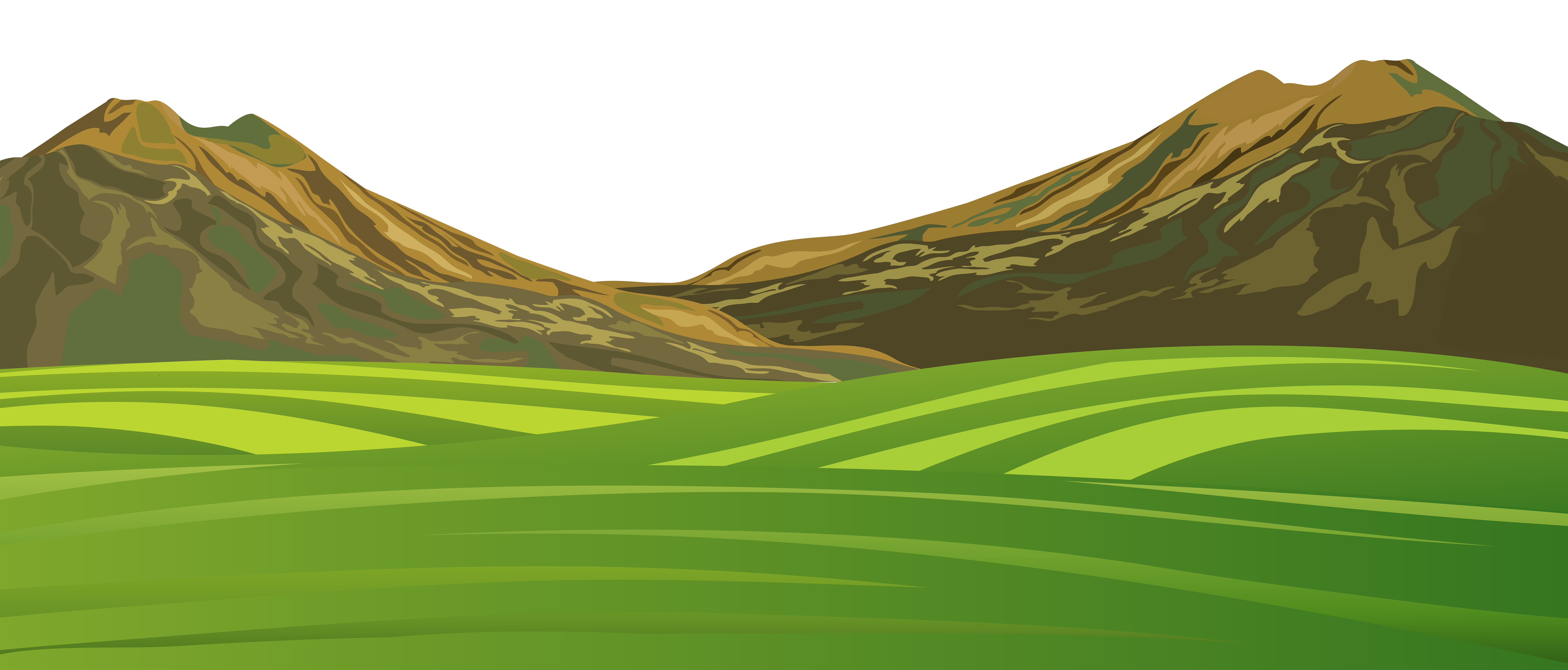 Mountain and Meadow Ground PNG Cartoon Image.
