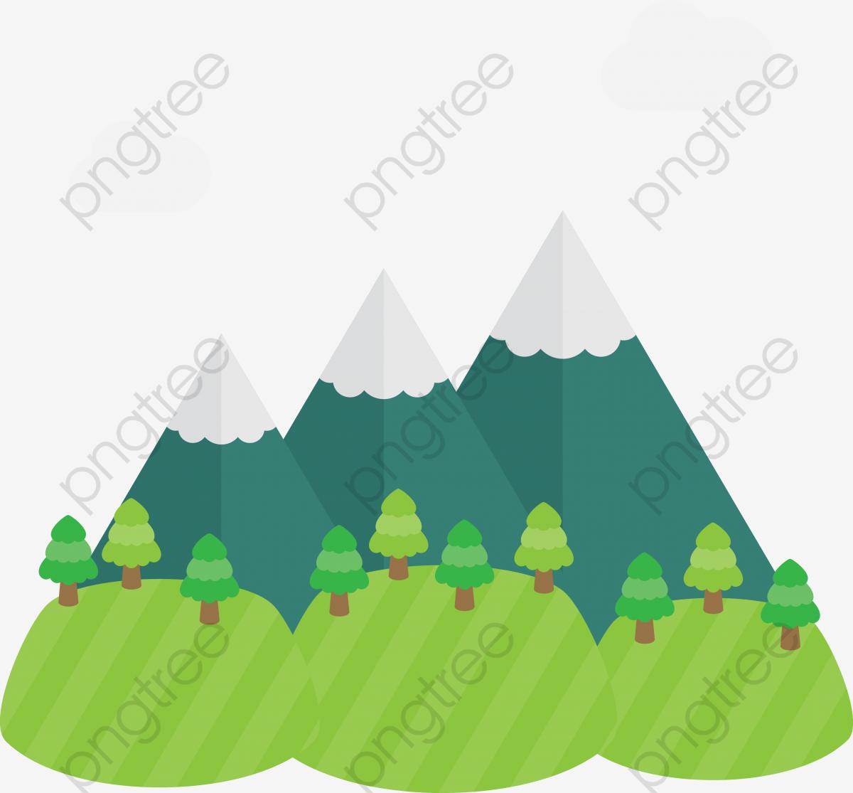 Vector Cartoon Three Hills, Cartoon Clipart, Mountain, Cartoon.
