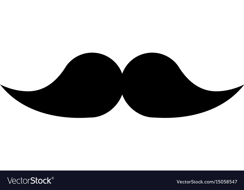 Black icon moustache cartoon.
