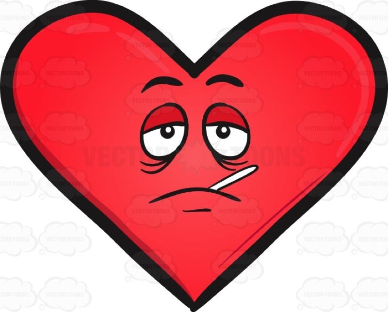 Sick Heart Emoji Cartoon Clipart.