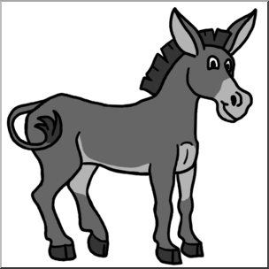 Clip Art: Cartoon Mule Grayscale I abcteach.com.