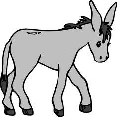Cartoon mule donkey with a load clip art vector clip art.