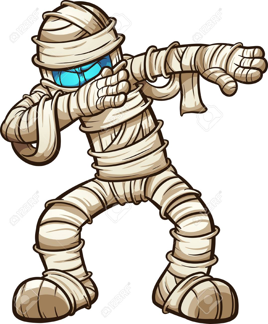 Dabbing cartoon mummy. Vector illustration with simple gradients.