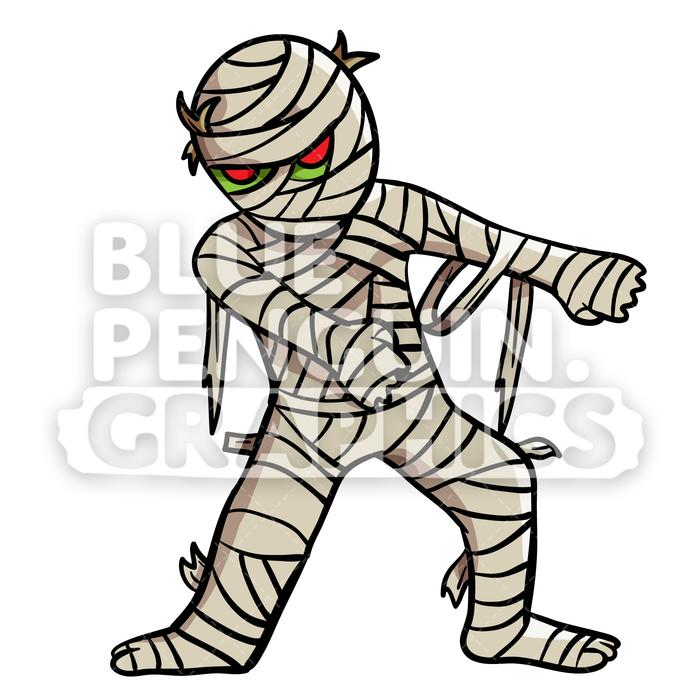 Egyptian Mummy Floss Dance Vector Cartoon Clipart Illustration.