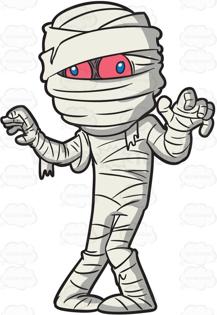 A mummy trying to scare people #cartoon #clipart #vector.