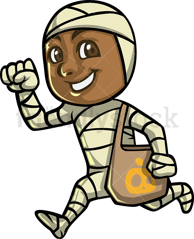 A Little Black Boy Dressed Up As A Mummy For Trick Or Treating.