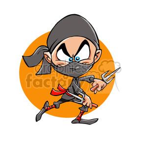 cartoon ninja outline clipart. Royalty.