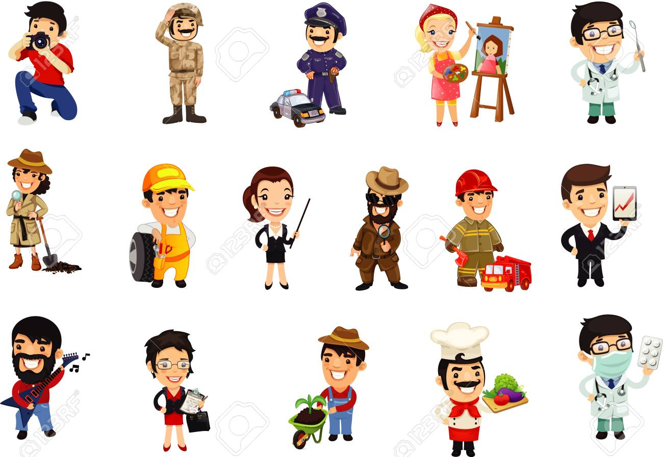 Occupations cartoon collection.