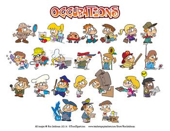 Kids Occupations Cartoon Clipart.