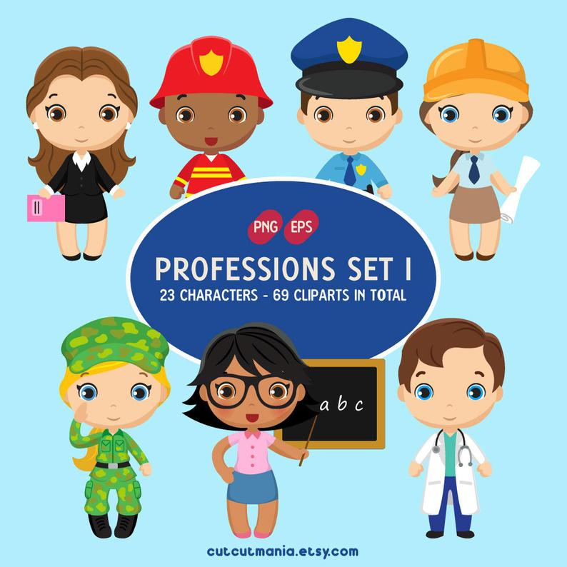 Professions clipart set 1, Job Occupation Clipart, Fireman Clipart, Doctor  Clipart, Police Clipart, PNG and EPS instant download.