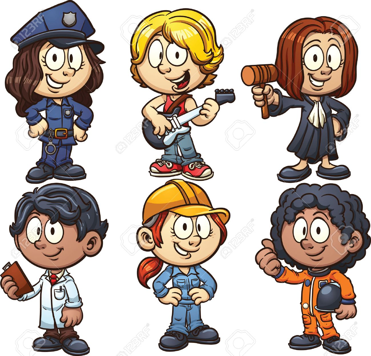 Kids using costumes for different occupations. Vector clip art...