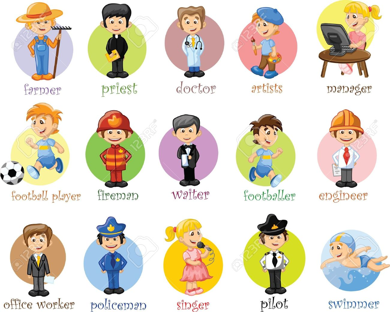 Cartoon characters of different professions.