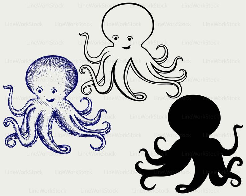 Cartoon Octopus svg/octopus clipart/octopus svg/octopus silhouette/octopus  cricut/cut files/clip art/digital download/designs/svg.