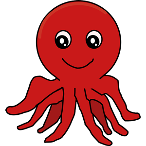 Red Cartoon Octopus clipart, cliparts of Red Cartoon Octopus free.