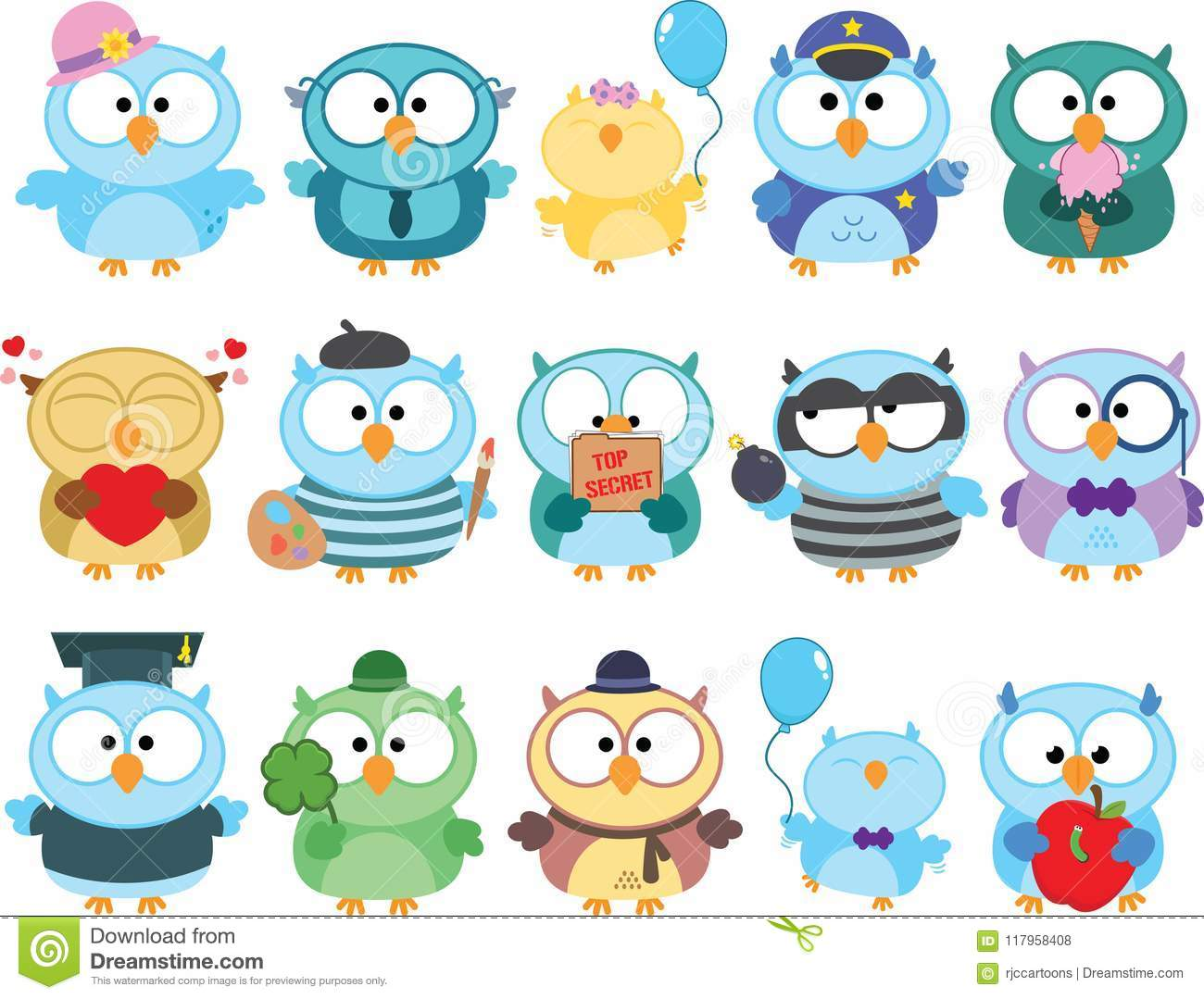 Cute Owl Clipart Set stock vector. Illustration of clipart.