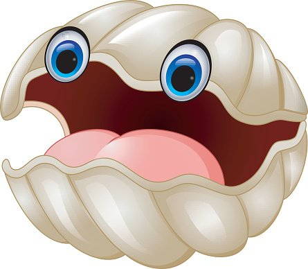 Cartoon oyster Clipart Image.