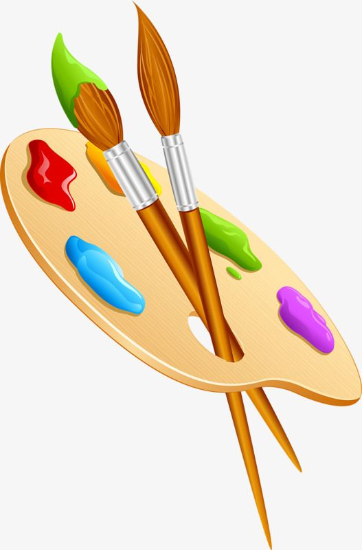 Cartoon Painted Brush Palette, Cartoon Clipart, Brush.