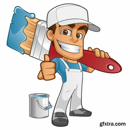 Collection of vector cartoon house painter picture painter.