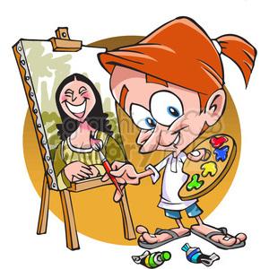 cartoon painter clipart. Royalty.