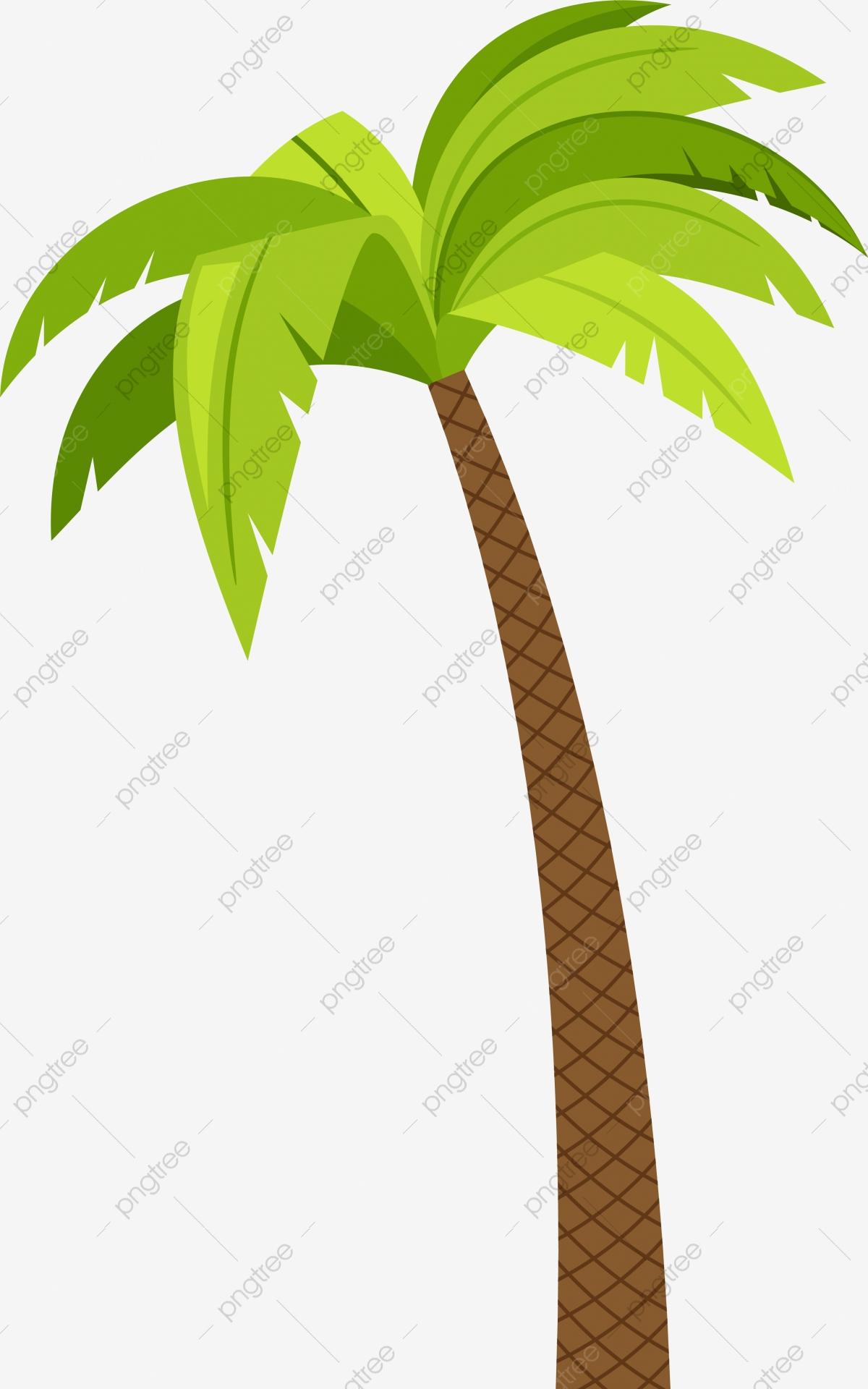 Green Cartoon Coconut Tree, Coconut Trees, Coconut Clipart, Tree.