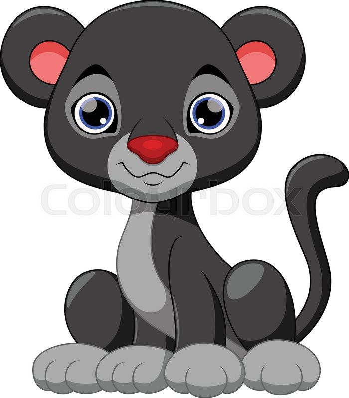 Stock vector of 'Cute black panther cartoon'.