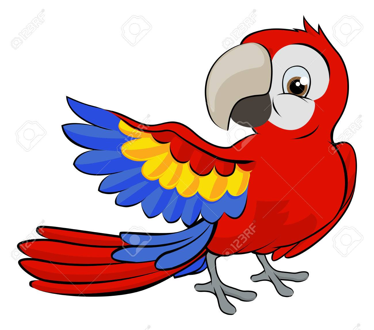 Cute cartoon parrot mascot pointing with a wing.