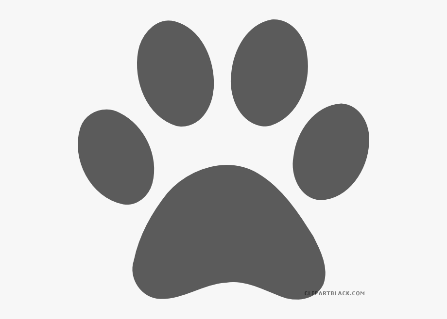 Grayscale Paw Print Animal Free Black White Clipart.