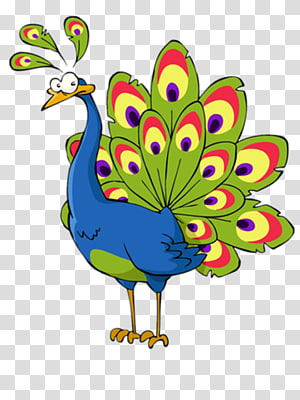 Cartoon Peacock transparent background PNG cliparts free.