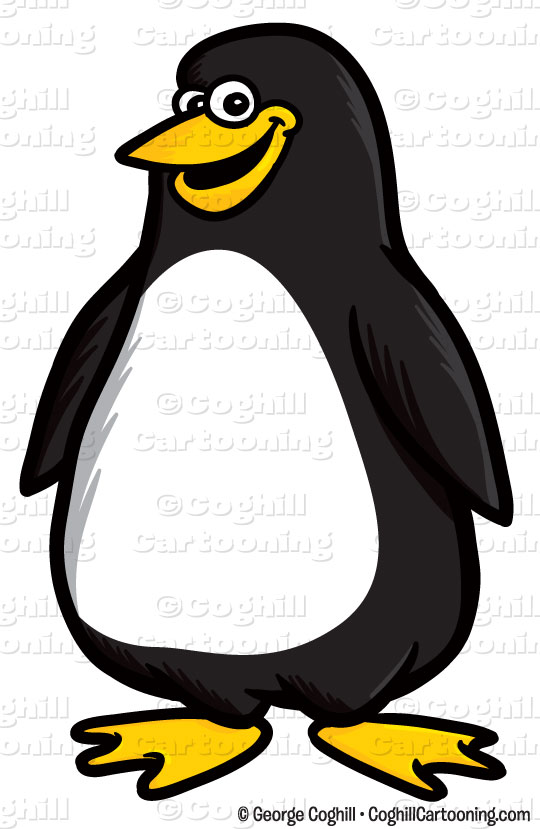 Cartoon Penguin Clip Art Stock Illustration.