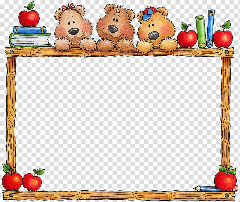 Multicolored bear border illustration, School Education.