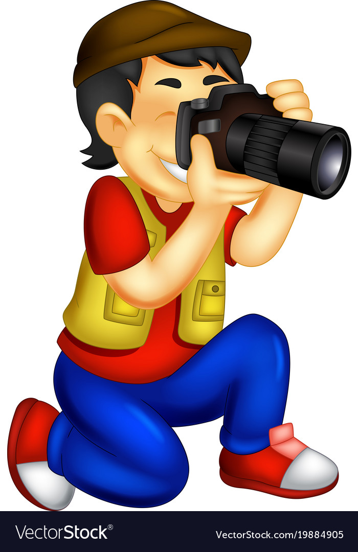 Funny photographer cartoon in action.