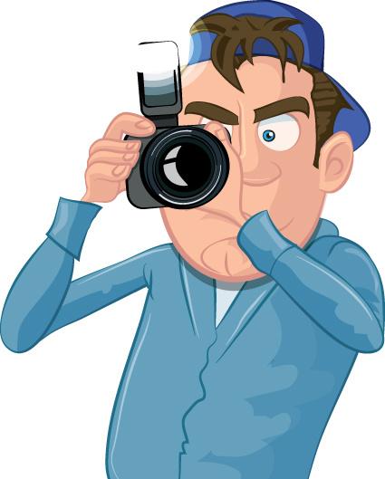Funny cartoon photographer vector set Free vector in Encapsulated.