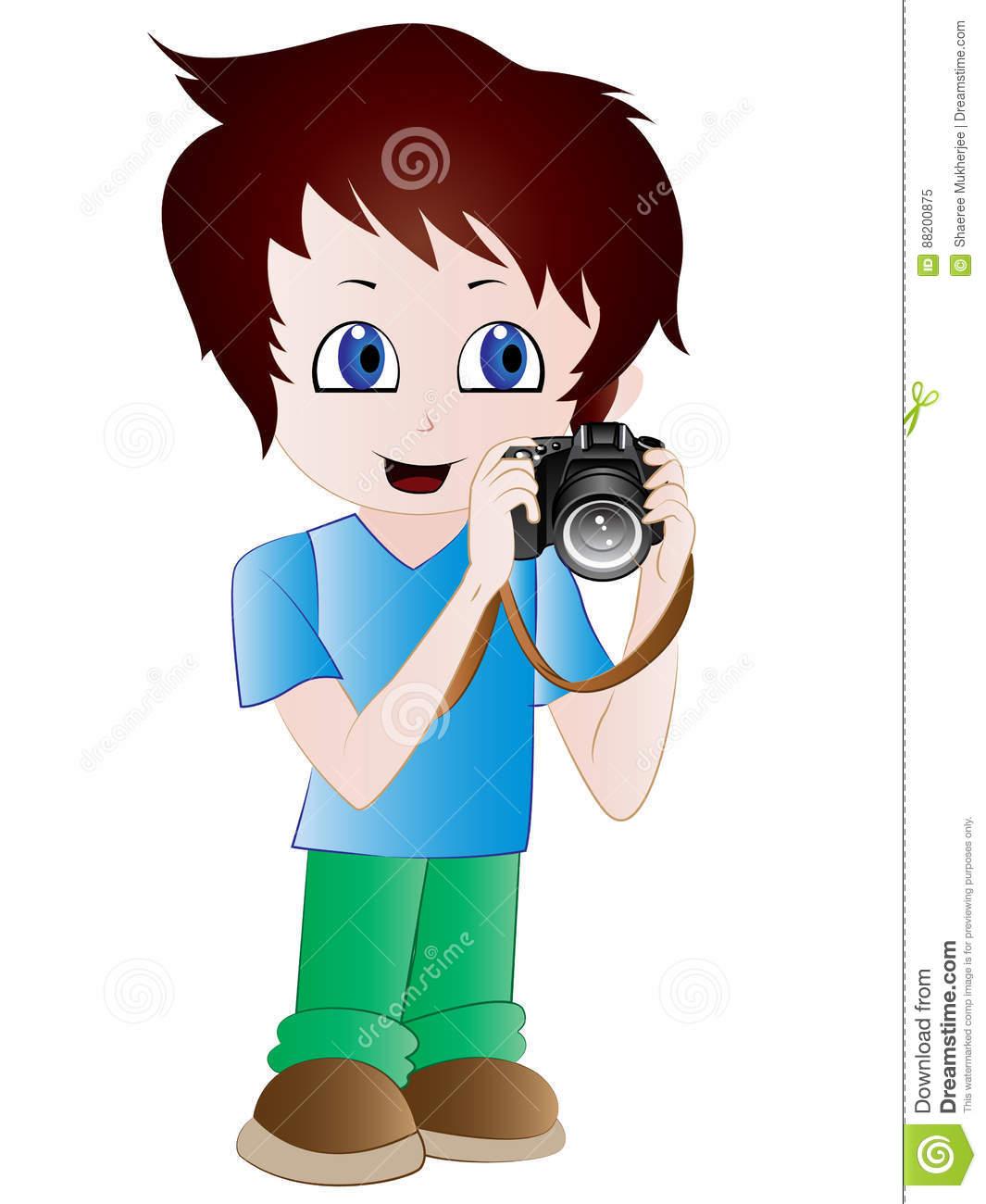 Cartoon Photographer Clip Art Stock Illustration.