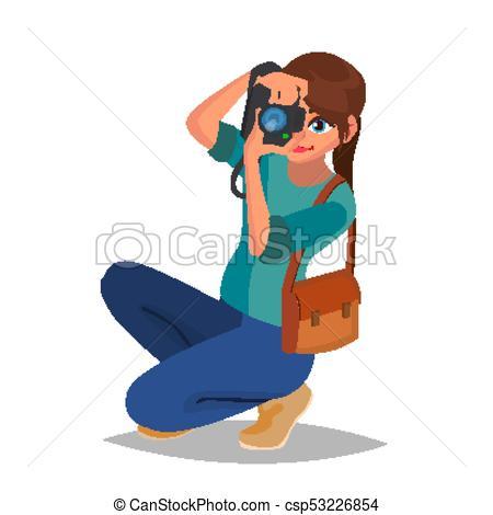 Photographer Woman Vector. Photo Equipment. Camera. Studio Photography.  Isolated Flat Cartoon Character Illustration.